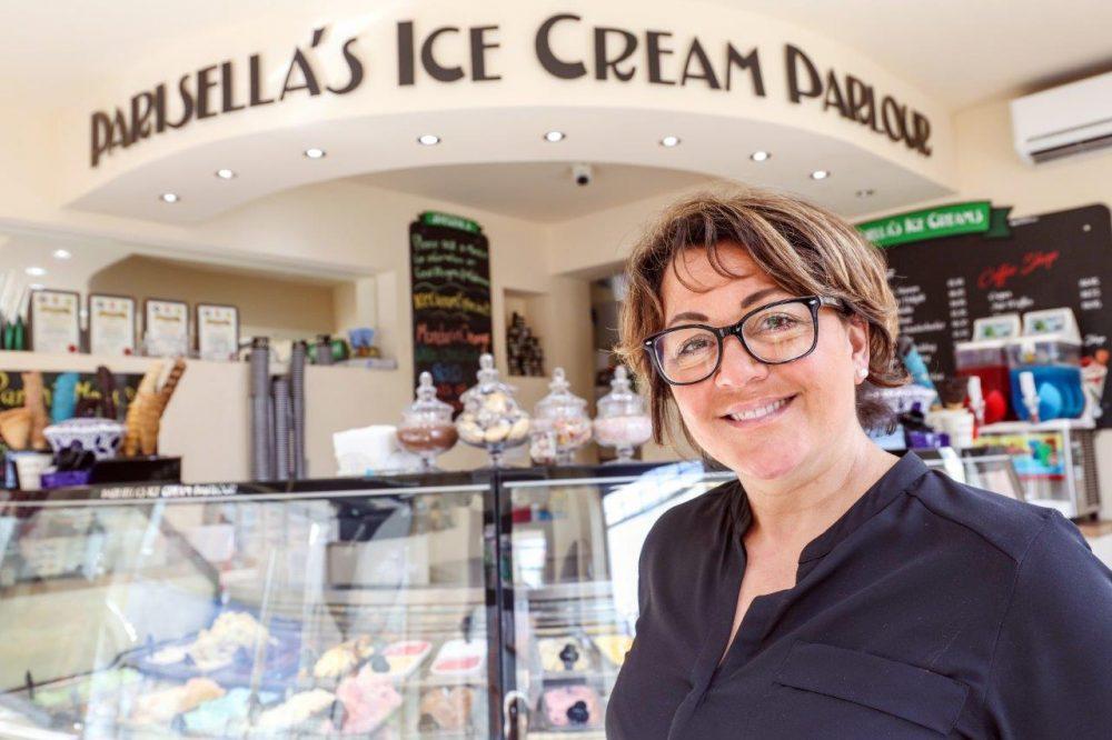 Carrie Parisella inside Parisella's Ice Cream Parlour